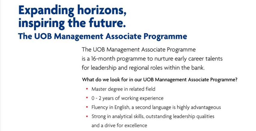 UOB Management Associate Programme 2017